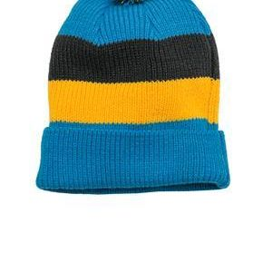 Vintage Striped Beanie with Removable Pom Thumbnail